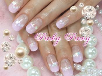 ピンクなふんわりネイル1