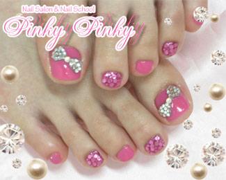 ピンク&キラキラリボンのペディ1